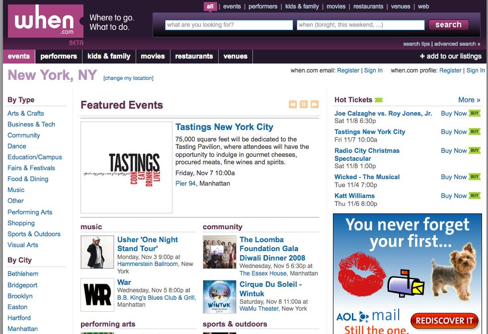 AOL lanza la búsqueda de eventos locales: When.com