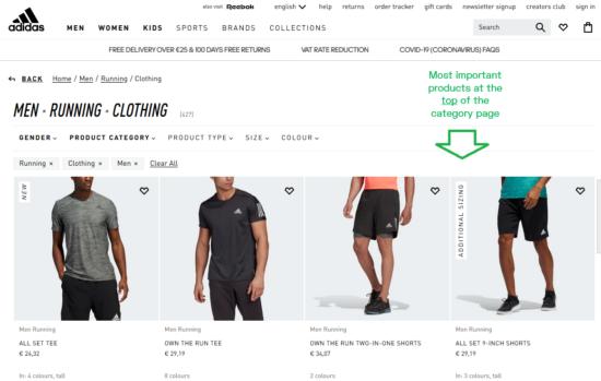 ejemplo de página de categoría de comercio electrónico