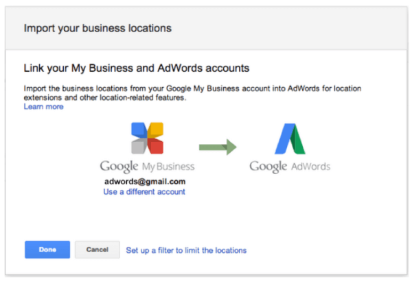 Extensiones locales de AdWords a nivel de cuenta