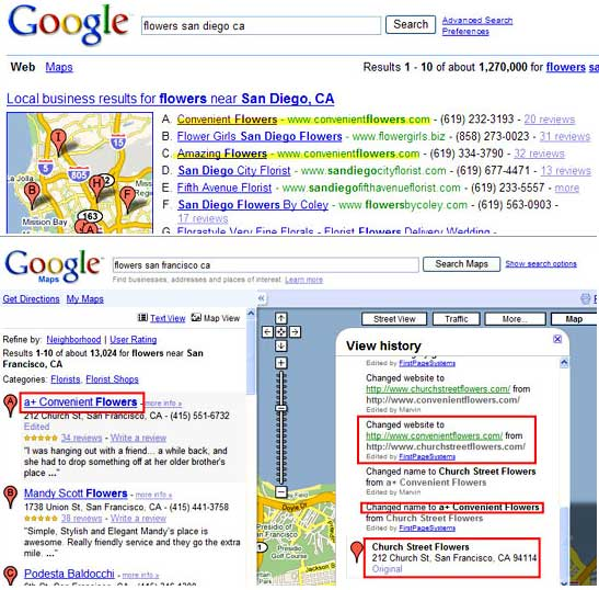 Screen Shot of Hijacking in Google Local 10 Pack and Maps
