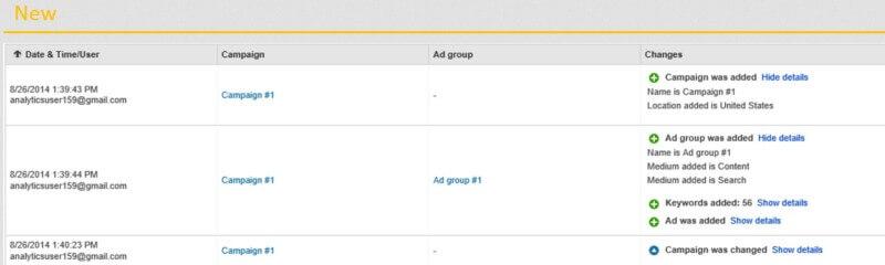 Actualización del informe del historial de cambios de Bing Ads