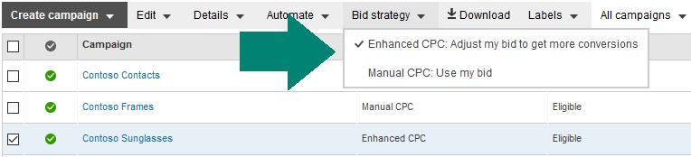 estrategia de oferta de CPC mejorado de Bing Ads