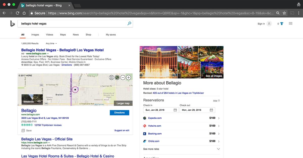 Ejemplo de Bing Hotel Ads