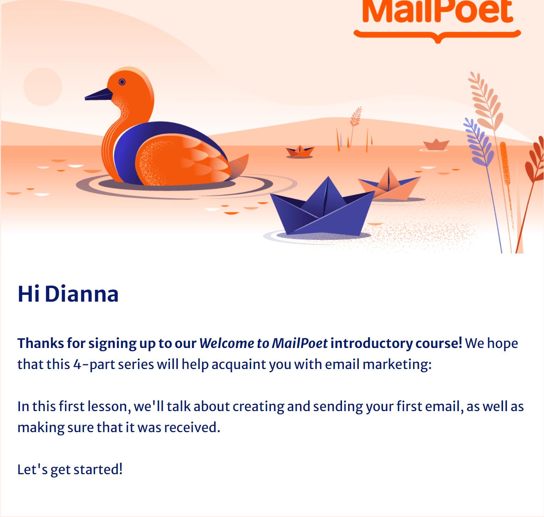 Ejemplo de un curso por correo electrónico de MailPoet