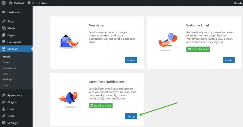 Crear un nuevo correo electrónico de notificación de publicaciones