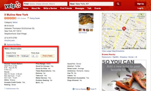 Crédito: Integración de OpenTable en la página de Yelp para el restaurante Il Mulino New York