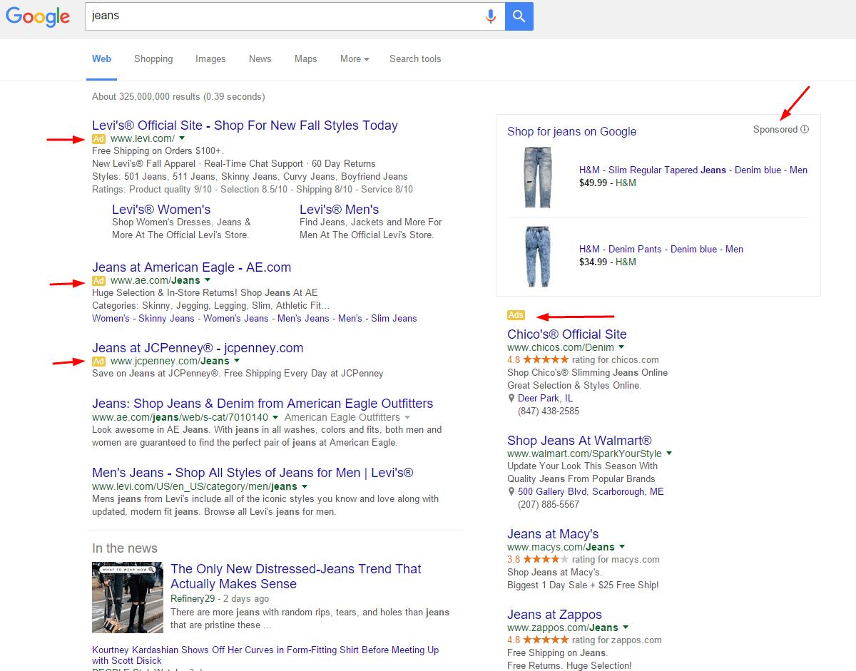 divulgación de anuncios en los resultados de búsqueda de Google