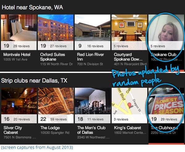 Ejemplos de carrusel local de Google de agosto de 2013