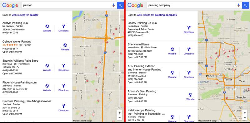 Categorías de SEO local de Google