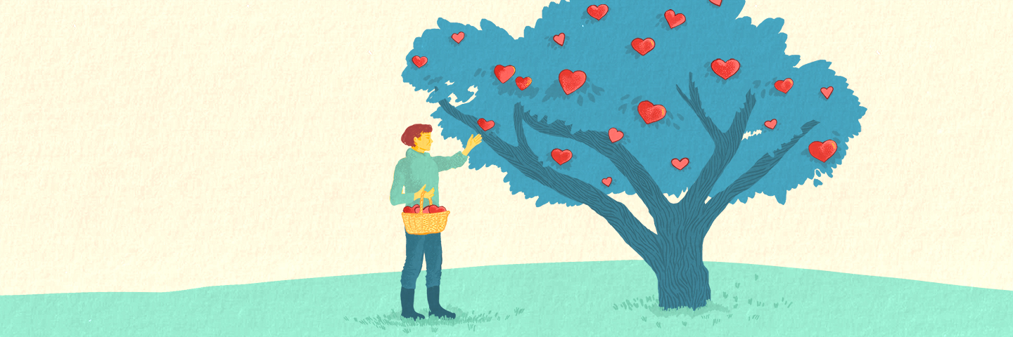 Illustration of someone picking apples from a tree