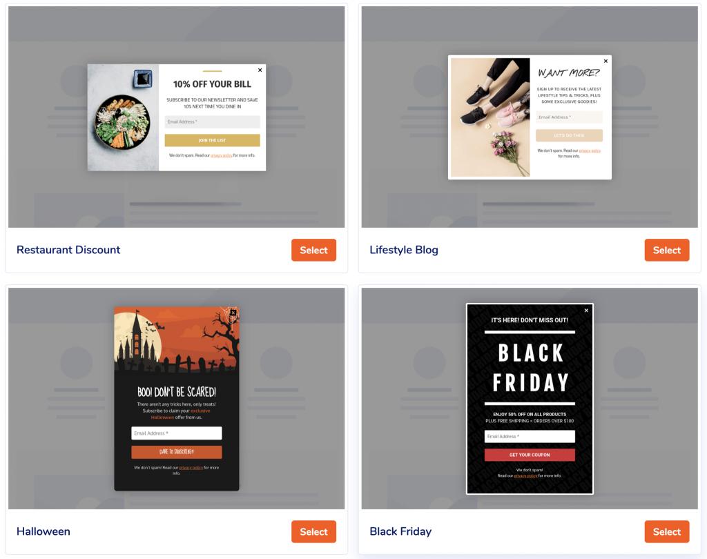 Cuatro ejemplos de plantillas de formulario MailPoet