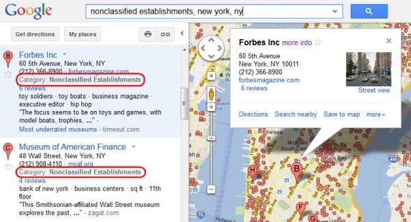 Nonclassified Establishments in Google Local Maps