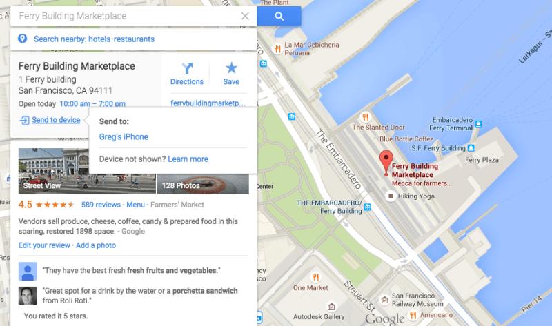 Google Maps envía a dispositivos