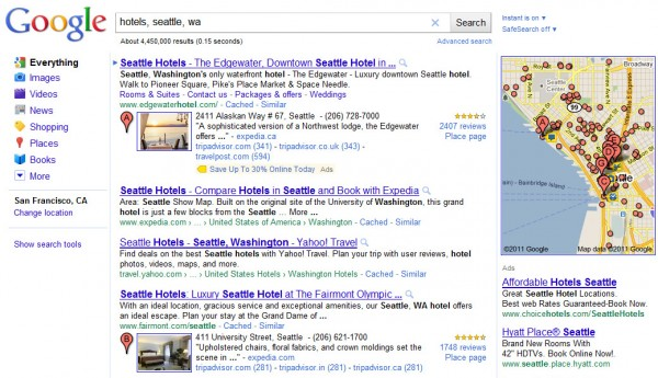 Google search for Hotels in Seattle, WA