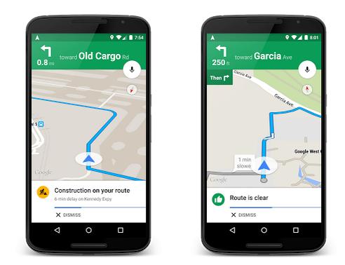 Nuevas alertas de tráfico de Google Maps