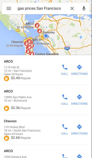 Precios de gasolina de Google en Maps