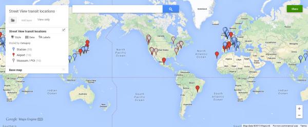 Ubicaciones de tránsito de Google Street View