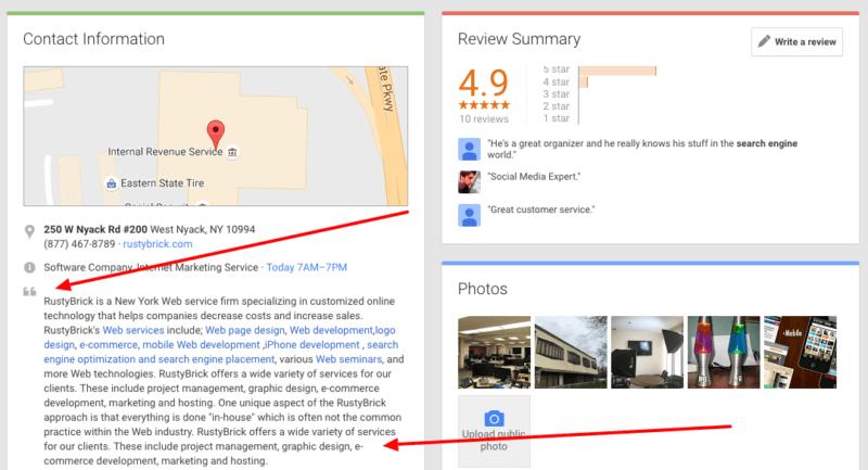 google + descripción-empresa