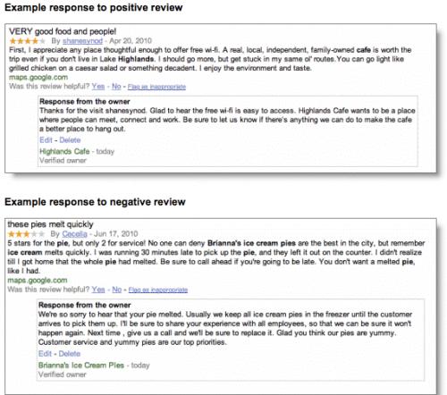 Google Now permite que las empresas respondan a reseñas sobre lugares