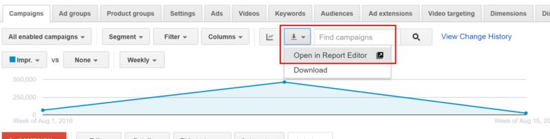 abrir en el editor de informes adwords