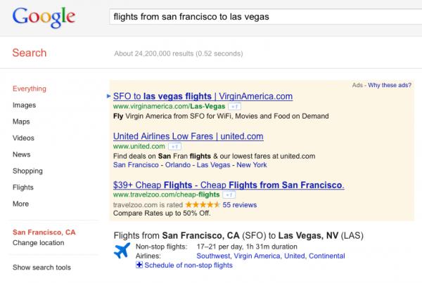 Google hace que los resultados de la búsqueda de vuelos sean más atractivos y más útiles