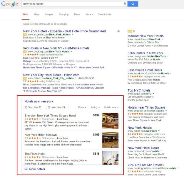 Los listados orgánicos de 3 paquetes locales de Google para hoteles reemplazan el carrusel de gráficos de conocimiento