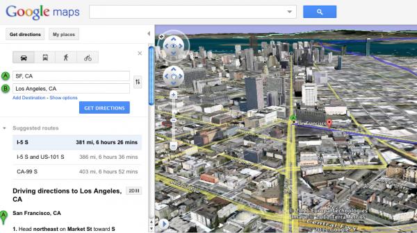 """Google muestra """"vista de helicóptero"""" de rutas en mapas"""