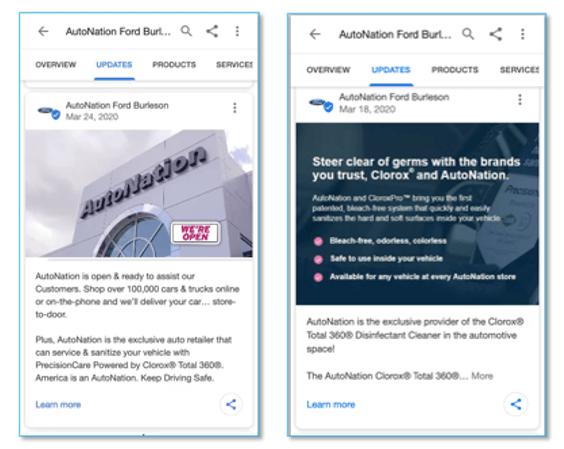 Las publicaciones de Google de Google My Business se muestran en los resultados de búsqueda locales de Google