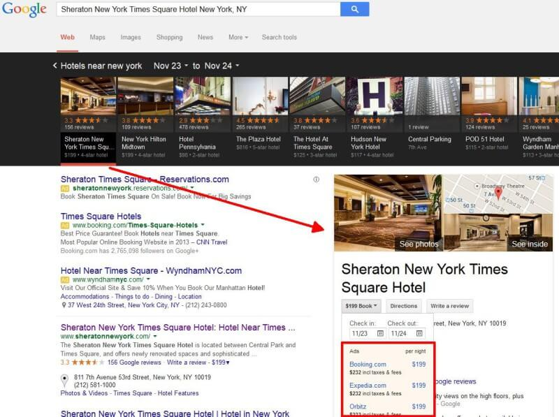 Anuncios de reserva de hoteles locales de Google