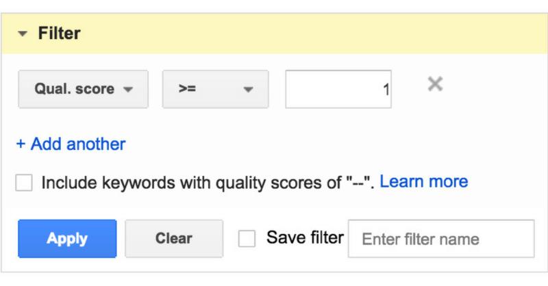 informe de puntuación de calidad nula en adwords