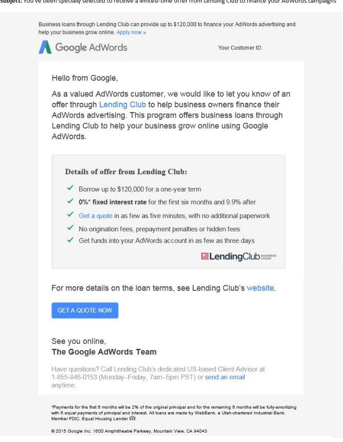 correo electrónico del club de préstamos de google adwords