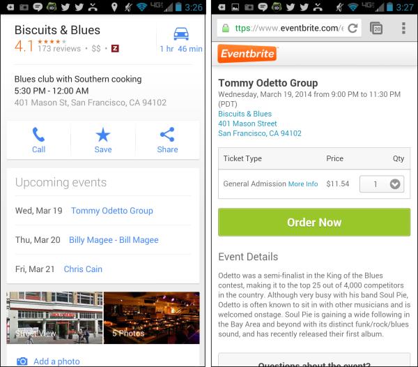Eventos y negocios locales en un teléfono móvil Android
