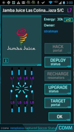 Pantalla de Jamba Juice en Irving, Texas - Ingress Mobile Phone Game