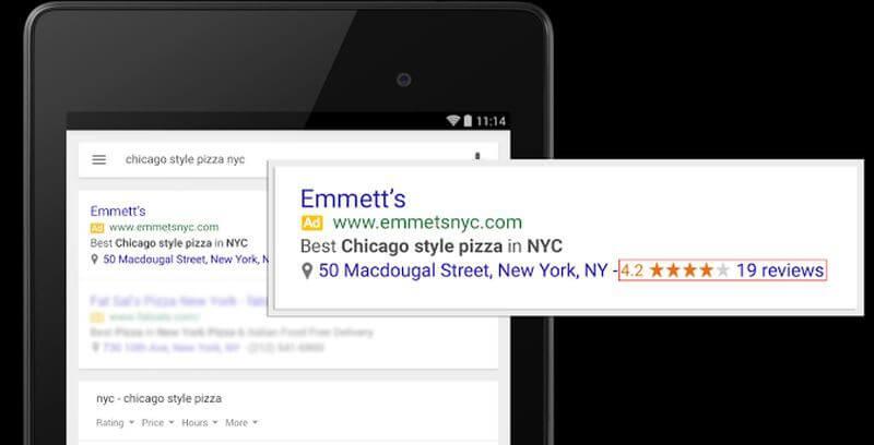 calificaciones en extensiones de ubicación Google Adwords
