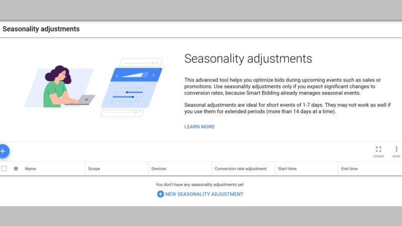 Ajustes de la oferta por estacionalidad en Google Ads.