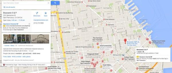 Detalles del marcador de anuncios de Google Maps