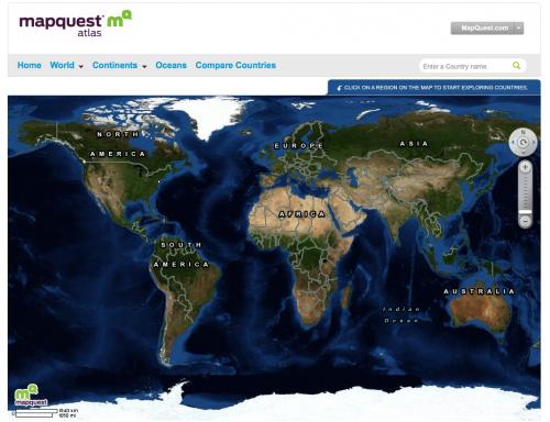 Mapquest lanza un nuevo Atlas para estudiantes, con datos de la CIA