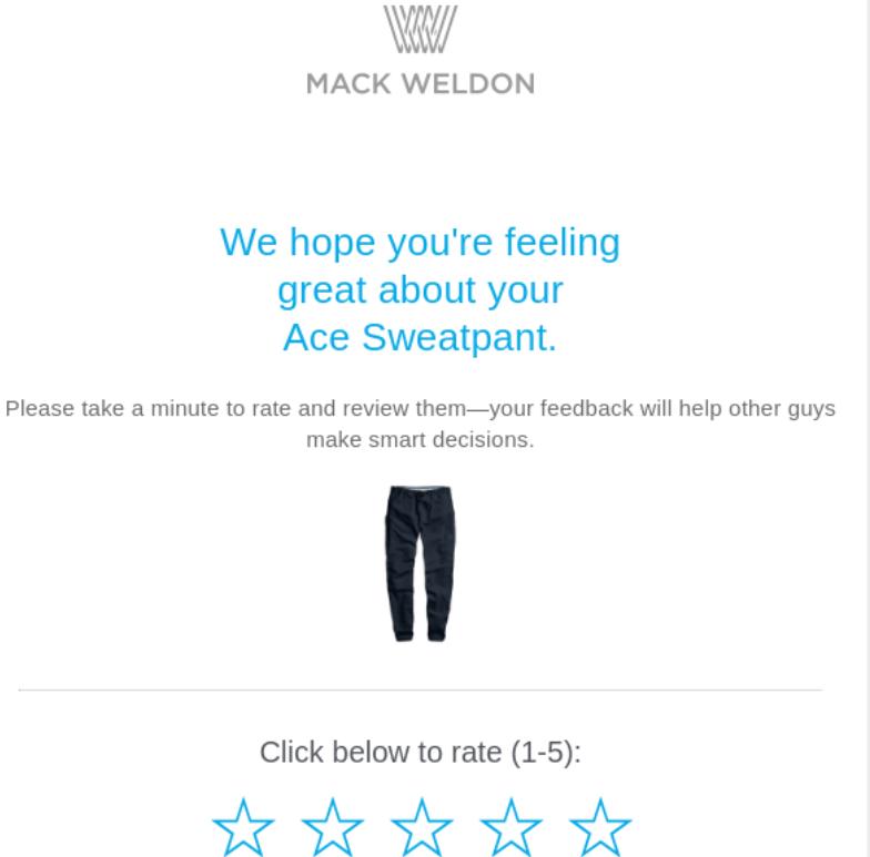 Marketing por correo electrónico para una empresa de suscripción de WooCommerce: solicitud de revisión de Mack Weldon