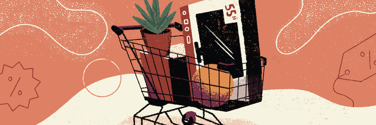 illustration of a shopping cart full of black friday bargains