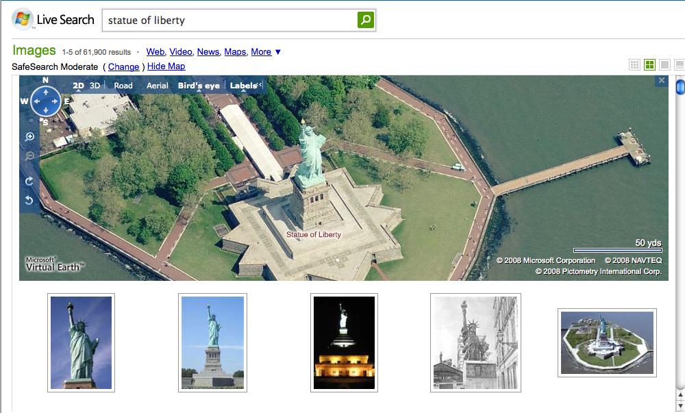 Microsoft agrega imágenes de Virtual Earth a la búsqueda en vivo