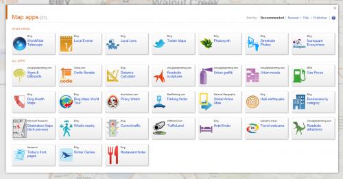 Microsoft está considerando las aplicaciones de búsqueda, como en Bing Maps