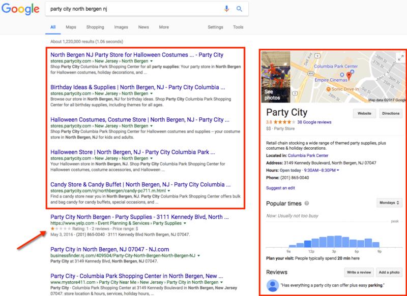 La página de destino de la tienda de Party City supera el resultado de Yelp