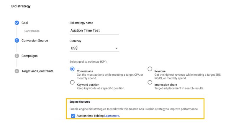Search Ads 360 implementa ofertas en el momento de la subasta para las campañas de Búsqueda de Google