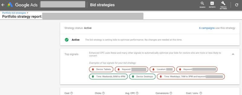Vea las 'señales principales' que informan sus estrategias de oferta de Google Ads