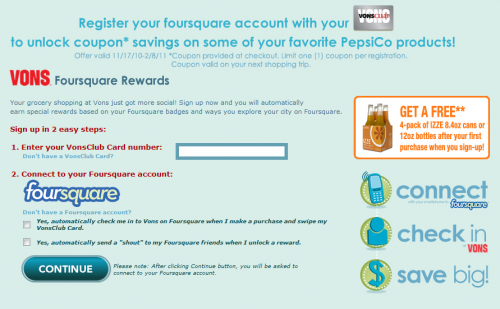 Vons Loyalty Card + Foursquare Check-Ins = Recompensas de Pepsico