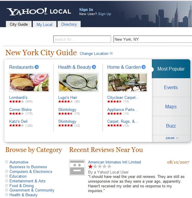 Yahoo Local obtiene un sofisticado cambio de imagen