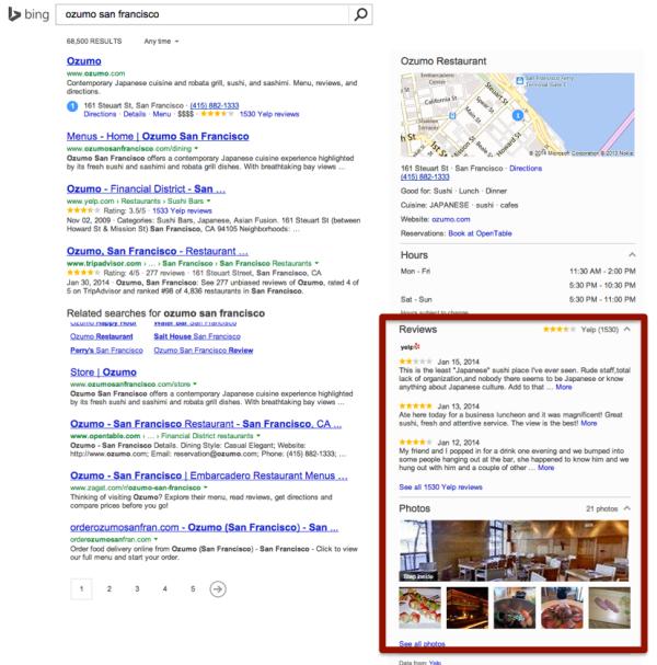 Integración de Yelp Bing