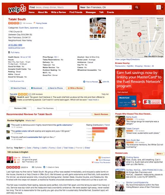 Página de perfil antigua de Yelp